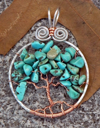 Tree of turquoise chips with sterling silver and copper.